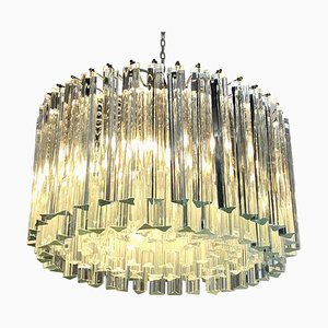 Italian Triedri Glass Rounded Chandelier from Venini, 1940s
