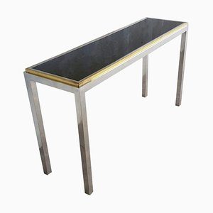 Steel and Brass Florentina Console Table by Willy Rizzo, Italy, 1970s