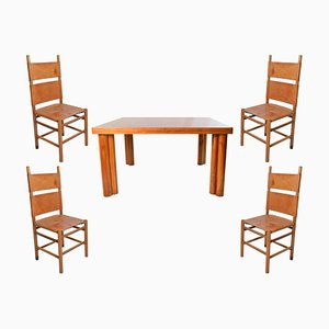 Walnut Wood Scuderia Table & Kentucky Chairs Set by Carlo Scarpa for Bernini, 1977