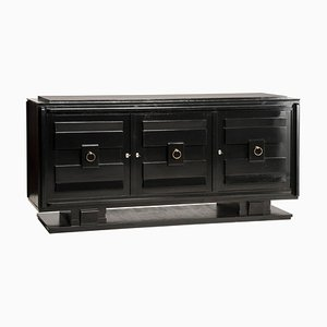 Art Deco Style Black Lacquered Crystal Top 3-Door Credenza, 1940s