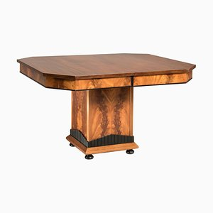 Art Deco Mahogany Square Extendable Dining Table, 1930s
