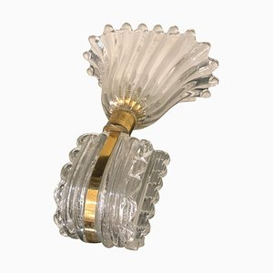Italian Glass and Brass Wall Sconce in the Style of Barovier, 1940s