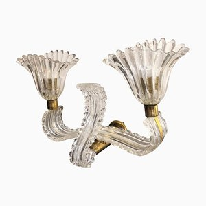 Italian Glass and Brass Double Wall Sconce in the Style of Barovier, 1940s