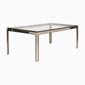 Steel and Brass & Crystal Top Model Fiorentina Table by Willy Rizzo, 1970s