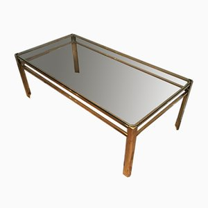 French Bronze and Brass Coffee Table Attributed to Jacques Quinet, 1970s