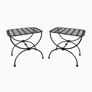 French Neoclassical Style Wrought Iron Stools, 1950s, Set of 2