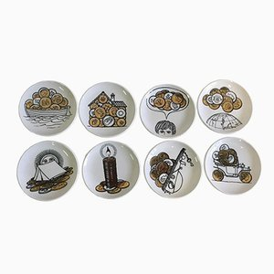 Saucers with Money Motifs by Piero Fornasetti, Set of 8