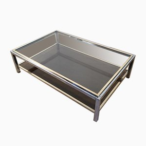 Large Chrome and Brass Coffee Table Attributed to Willy Rizzo, 1970s