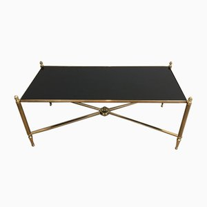 French Neoclassical Style Brass Coffee Table with Black Lacquered Glass Top Attributed to Maison Bagués, 1940s