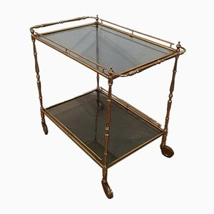 Small Brass Trolley with Stained Glass, 1940s