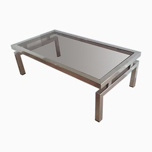 Chrome Coffee Table with Smoked Glass Top in the Style of Guy Lefèvre, 1970s