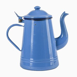 Italian Blue Enameled Metal Teapot from Westen Due Leoni B Bassano, 1950s