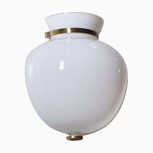 Vase Demi-Solive Moderne en Verre Opalin et Laiton par Vilhelm Lauritzen pour Louis Poulsen, Danemark, 1950s