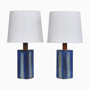 Grandes Lampes de Bureau Bleues Modernes de Søholm en Grès, Danemark, 1960s, Set de 2