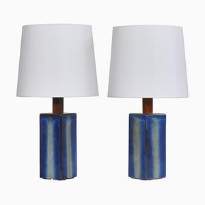 Large Danish Modern Blue Table Lamps from Søholm Stoneware, 1960s, Set of 2