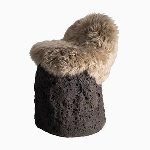 Geoprimitive Ceramic Settle with Sheep Wool by Niclas Wolf