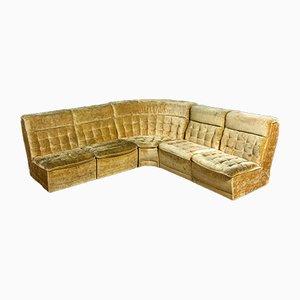 Vintage Yellow Velvet Modular Corner Sofa, 1970s