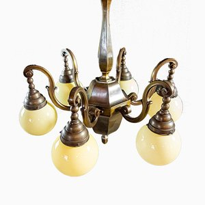 Vintage Copper-Colored Chandelier with Yellow Bulbs, 1950s