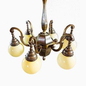 Vintage Kupfer Kronleuchter mit gelben Glühbirnen, 1950er