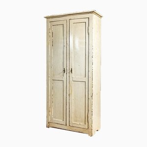 Antique French White 2-Door Wardrobe, 1900s
