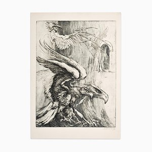 Eagles - Original Etching on Paper by Marcel Chirnoaga - 1980s 1980s