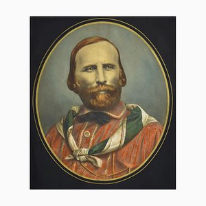 Early Portrait of Giuseppe Garibaldi - Original Lithograph 19th Century 19th Century