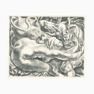 Gravure à l'Eau-Forte originale sur Papier et Taureau, 20ème Siècle, 20ème Siècle