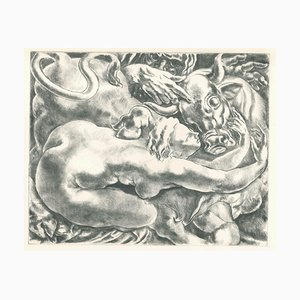 Woman and Bull - Original Etching on Paper - 20th Century 20th Century