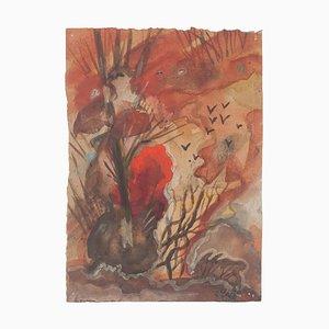 Autumn Landscape- Original Watercolor on Paper by Jean Delpech - 1942 1942