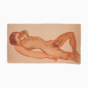 Nude - Original Watercolor on Paper by Jean Delpech - 1960s 1960s