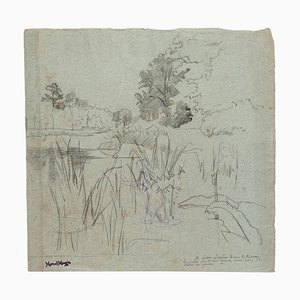 Landscape - Original Drawing in Pencil by Marcel Mangin - 20th Century 20th Century