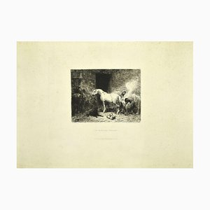 Stable - Original Etching on Paper by Jules Hereau - Late 19th Century Late 19th Century