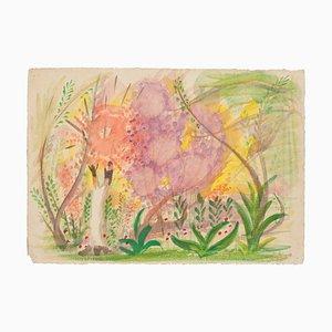 Landscape - Original Watercolor on Paper by Jean Delpech - 1946 1946