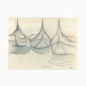 Boats - Original Pencil on Paper - 1947 1947