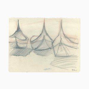 Boote - Original Bleistift auf Papier - 1947 1947