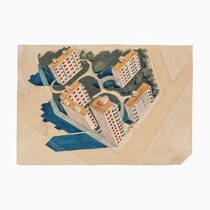 Paysage Urbain - Aquarelle Originale sur Papier par Jean Delpech - 1954 1954