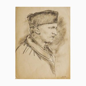 Portrait - Original Pencil Drawing on Paper by J. Hirtz - Early 20th Century Early 20th Century