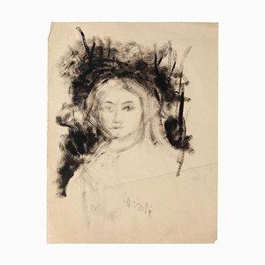 Retrato de mujer - Original China y acuarela de Carlo Caroli - años 40