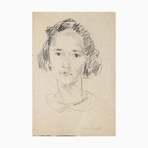 Girl - Original Pencil on Paper by Sandro Vangelli - 20th Century 20th Century