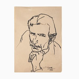 Portrait of Man - Original Drawing in China Ink by Umberto Casotti - 1947 1947