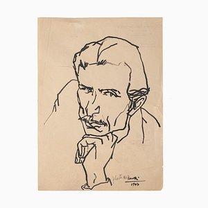 Portrait of Man - Original Zeichnung in China Tinte von Umberto Casotti - 1947 1947