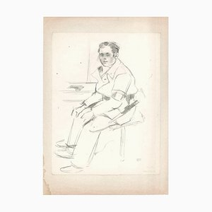 Soldier - Original Drawing in Pencil by Jacques Hirtz - 20th Century Early 20th Century