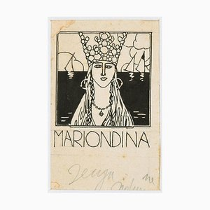 Mariondina - Illustration - Original China Ink by Bruno Angoletta - 1930s 1930's