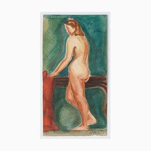 Nude - Original Watercolor on Paper by Jean Delpech - 1942 1942