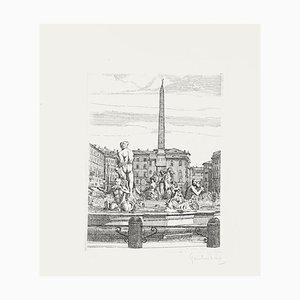 Navona Square - Original Print on Paper by Giuseppe Malandrino - 1960s 1960s