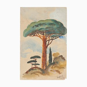Lonely Tree- Original Watercolor on Paper by Jean Delpech - 1937 1937