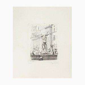 Navona Square - Original Radierung von Giuseppe Malandrino - 1960er 1960er