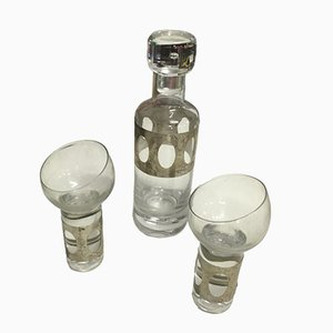 Glass & Silver Bottle with Glasses, Set of 3, 1970s