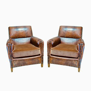 French Leather Club Armchairs, 1940s, Set of 2