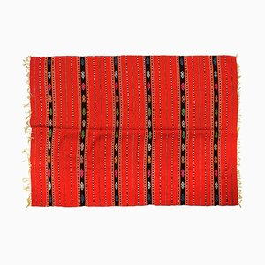 Romanian Traditional Hand Woven Red Wool Striped Rug, 1970s